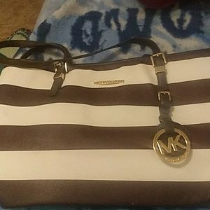 Brown and white striped leather Michael Kors bag